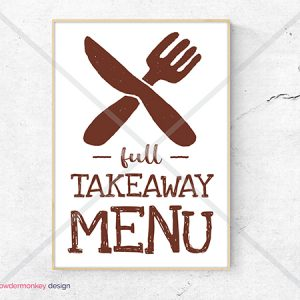 Cafe Restaurant sign Full Takeaway Menu A3 printable